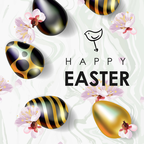 Golden with black easter egg and sale background vector 03
