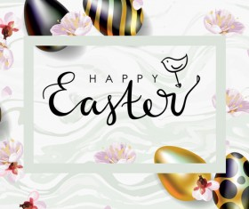 Golden with black easter egg and sale background vector 04