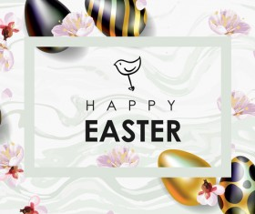 Golden with black easter egg and sale background vector 05