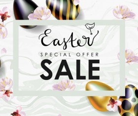Golden with black easter egg and sale background vector 06