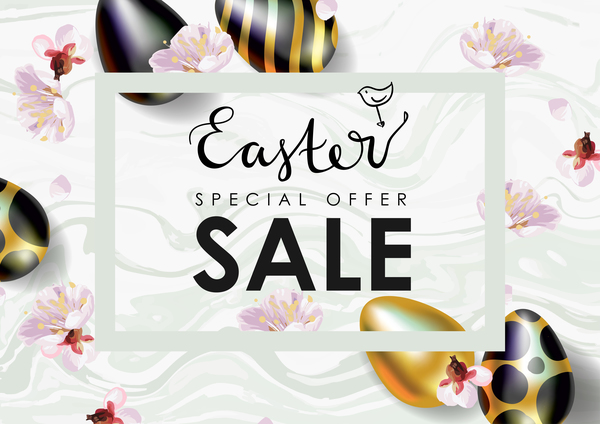 Easter Sale Vector Illustration Realistic Festive Eggs And Spring