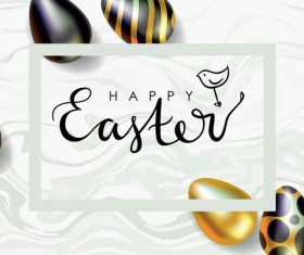 Golden with black easter egg and sale background vector 07