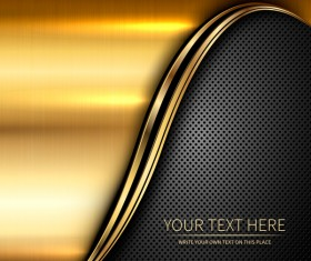 Golden with black metal abstract background vector 01
