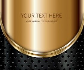 Golden with black metal abstract background vector 02