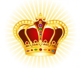 Golden with red crown illustration vector 01