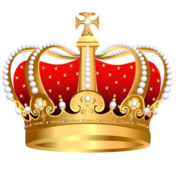 Golden with red crown illustration vector 02