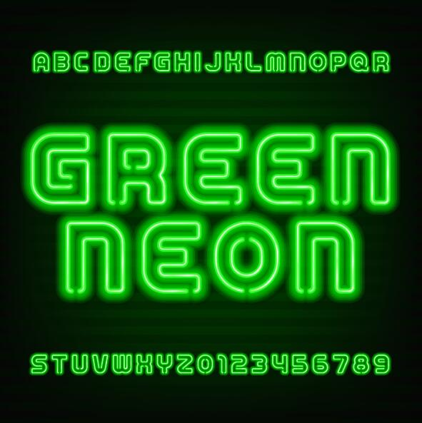 Green neon alphabet with number vector
