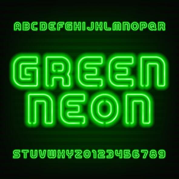 Green neon alphabet with number vector