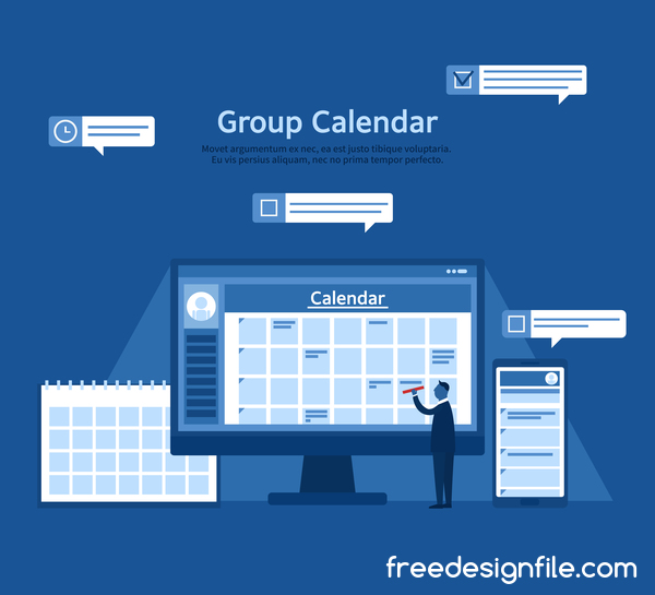 Group calendar business template vector