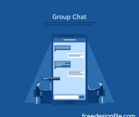 Group chat business background vector