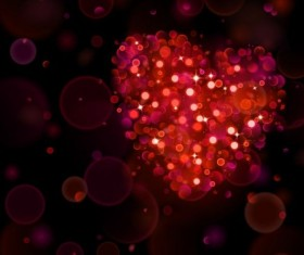 Halation heart with bokeh background vector 02