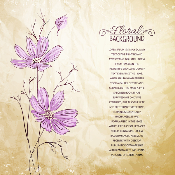 Hand drawn purple flower with crumpled paper background vector