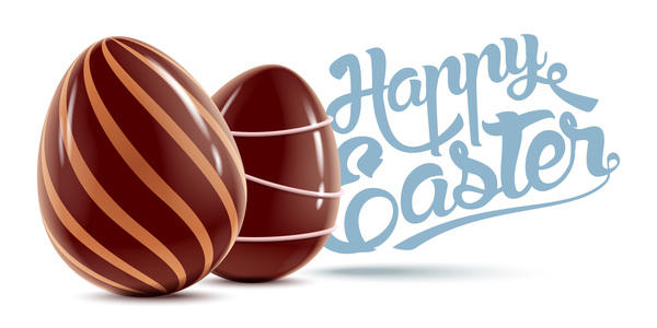 Happy Easter background with chocolate eggs vector 01
