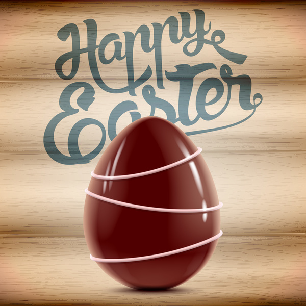 Happy Easter background with chocolate eggs vector 02