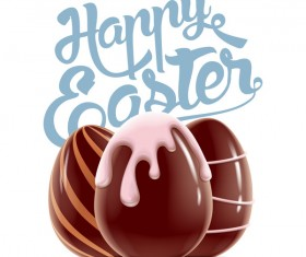 Happy Easter background with chocolate eggs vector 03