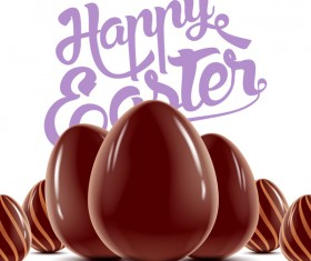 Happy Easter background with chocolate eggs vector 04