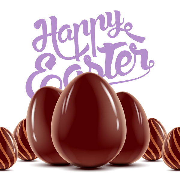 Happe Easter wood background with chocolate eggs