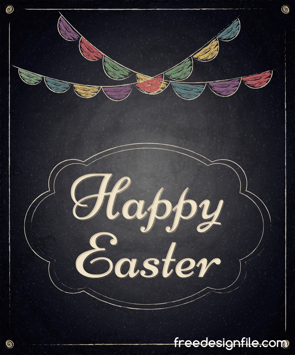 Happy Easter Frame With Chalkboard Background Vector 03