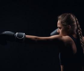Hardworking female boxer Stock Photo