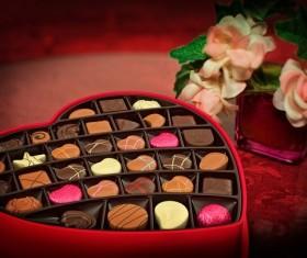 Heart-shaped gift box of chocolate Stock Photo