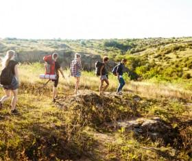 Hiking backpacker Stock Photo