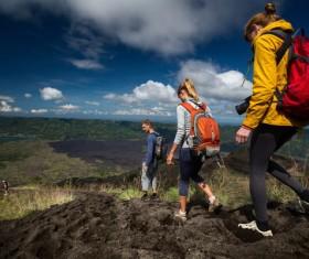Hiking backpackers Stock Photo