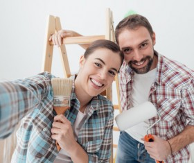 Home decoration happy couple Stock Photo