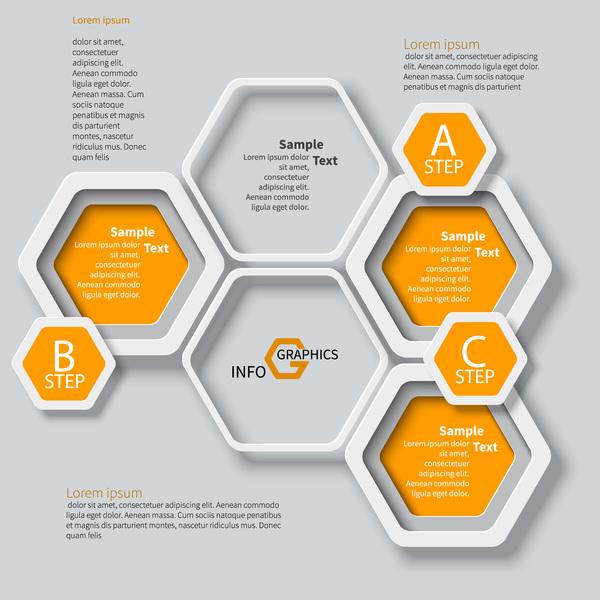Honeycomb business infographics template vectors set 02