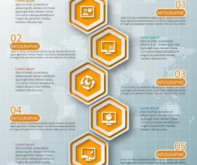 Honeycomb business infographics template vectors set 03