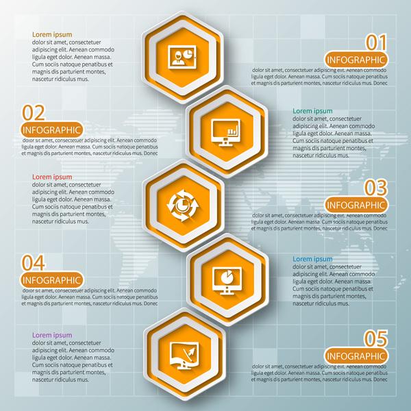 Honeycomb business infographics template vectors set 03