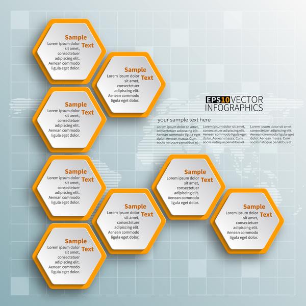 Honeycomb business infographics template vectors set 04