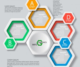 Honeycomb business infographics template vectors set 05