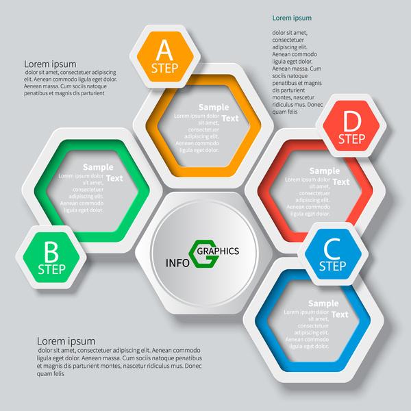 Honeycomb business infographics template vectors set 05