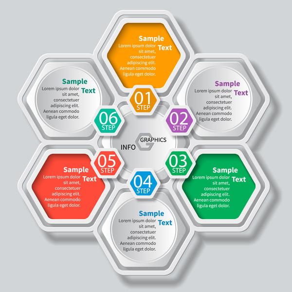 Honeycomb business infographics template vectors set 06