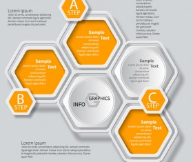 Honeycomb business infographics template vectors set 07