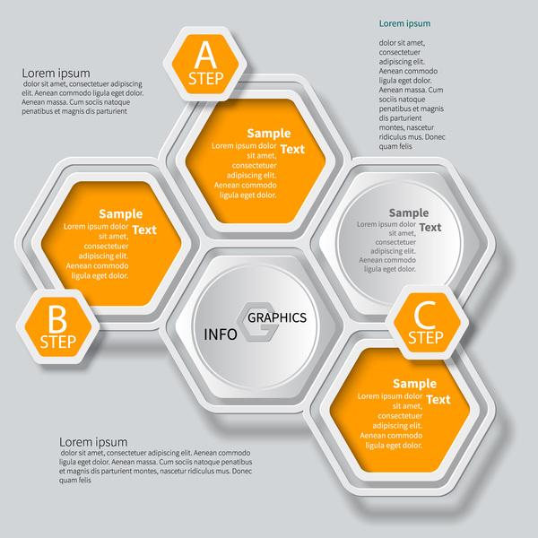 Honeycomb business infographics template vectors set 07