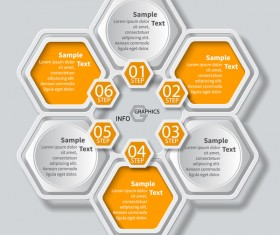 Honeycomb business infographics template vectors set 08