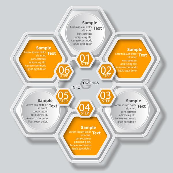 Honeycomb business infographics template vectors set 08