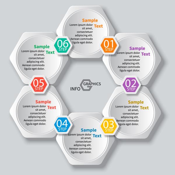 Honeycomb business infographics template vectors set 09