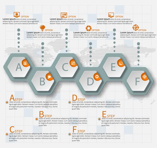 Honeycomb business infographics template vectors set 10