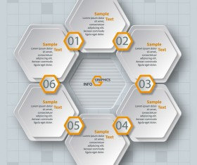 Honeycomb business infographics template vectors set 12