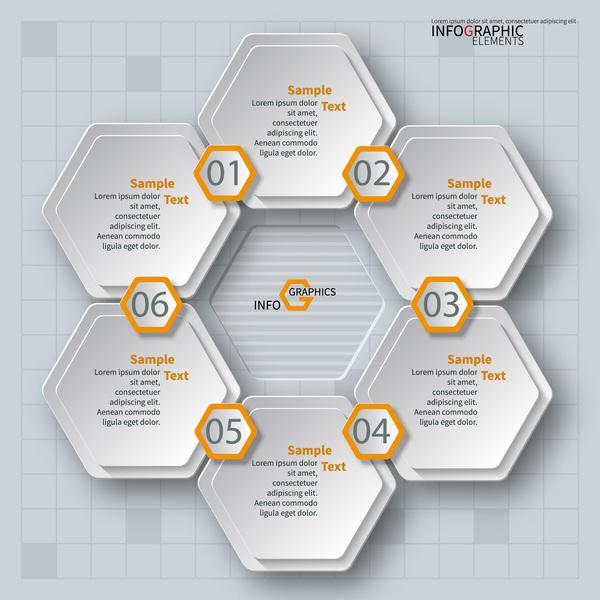 Honeycomb business infographics template vectors set 12