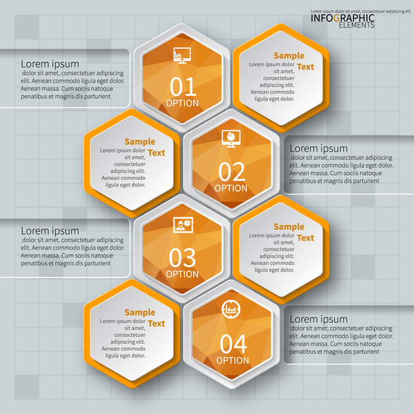 Honeycomb business infographics template vectors set 13