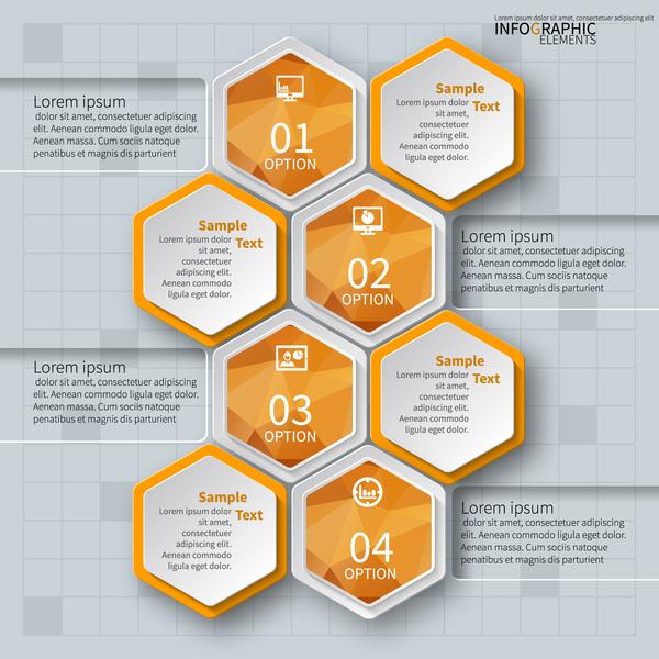 Honeycomb business infographics template vectors set 13