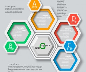 Honeycomb business infographics template vectors set 14