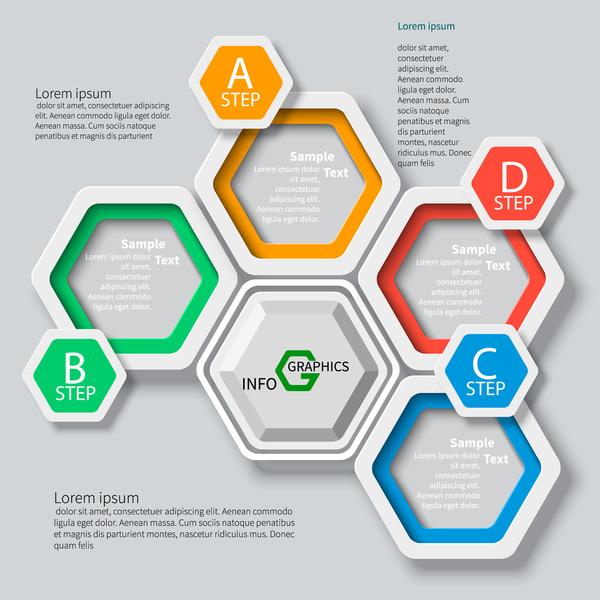 Honeycomb business infographics template vectors set 14