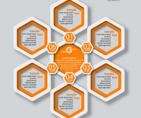 Honeycomb business infographics template vectors set 15