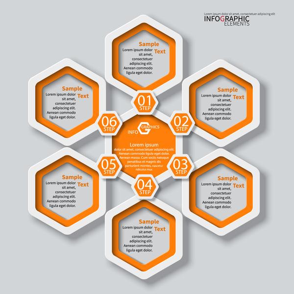 Honeycomb business infographics template vectors set 15