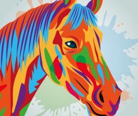 Horse hand drawn watercolor vector