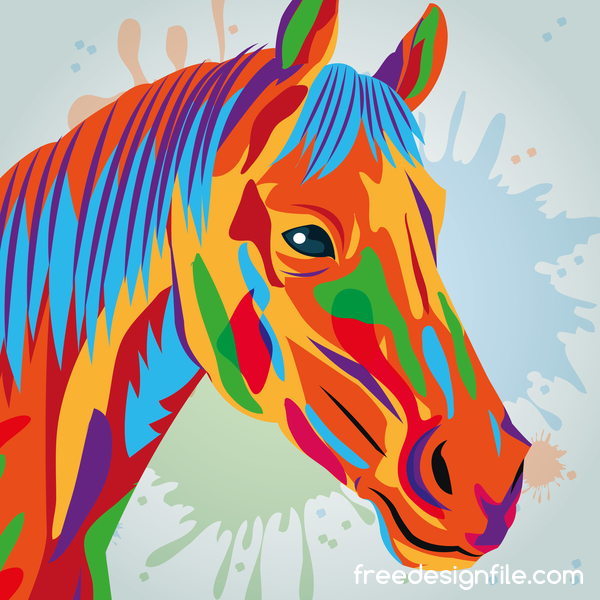 Horse hand drawn watercolor vector